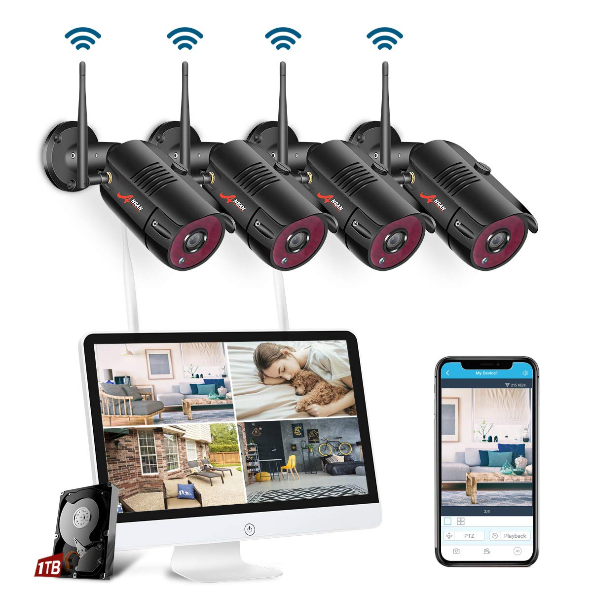 All-in-One Wireless Security Camera System with 15.6 ...